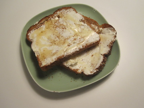 Toast with cream cheese and honey