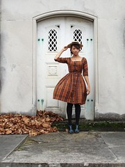 PLAID.....itude (vestedbeevintage) Tags: hat vintage necklace shoes dress tights 1950s target seychelles plaid butterflywing boaters vintagesilver tstraps jonathanlogan palmtreescene platflorms