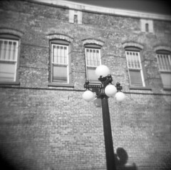 post + bricks (a. emmo) Tags: bw 120 buildings tampa square holga florida ybor