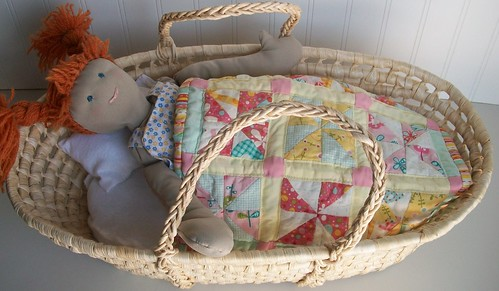 Doll, Moses Basket, Quilt