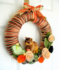 Vintage Raccoon Brown and Orange Yarn Wreath (KnockKnocking) Tags: orange brown flower cute nature mushroom forest vintage woodland fuzzy sweet decoration stripe felt yarn wreath cotton bow round kawaii toadstool fiber flocked spun