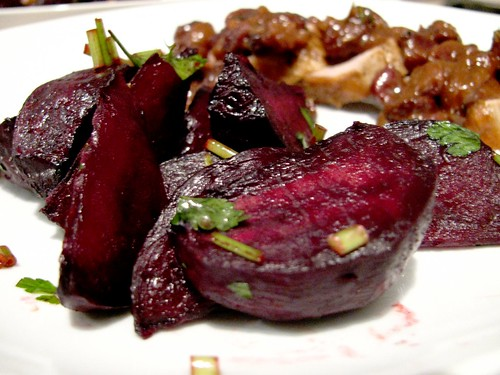 Roasted beets with parsley
