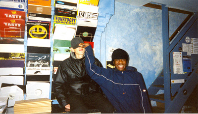 Benga and Skream in Big Apple records Croydon, circa 2001