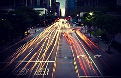 After Work Traffic (RobeRt Vega) Tags: street trees sunset urban signs cars wet cali buildings lights la losangeles cool stream long exposure downtown traffic pavement awesome headlights sidewalk rush hour only keep streaks figueroa 3rd kool tailights project365
