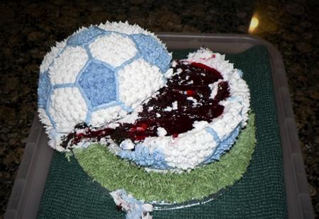 ruined soccer ball cake baby shower blue