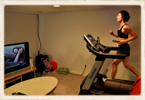 Walking on the Treadmill While Watching TV