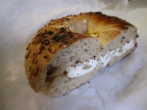 Olive Cream Cheese on a Multi-Grain Bagel
