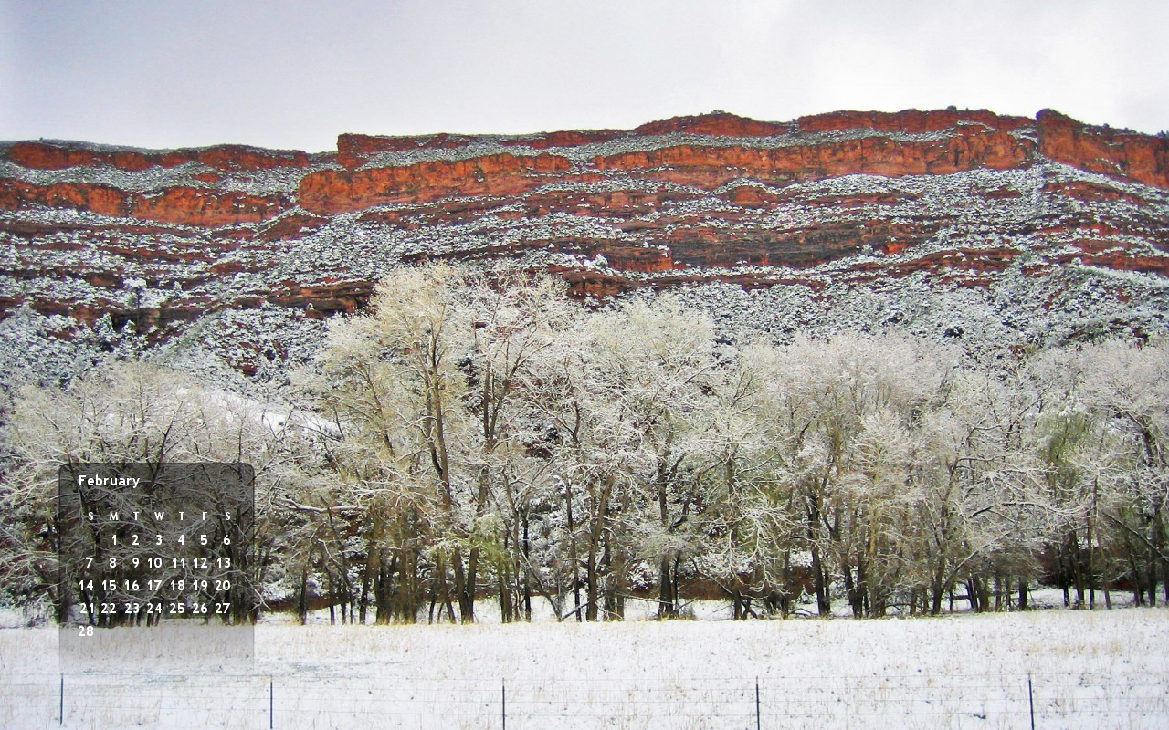 Red mesa and snowy cottonwood trees make up the scenery in this Feb 2010 wallpaper calendar for your computer.
