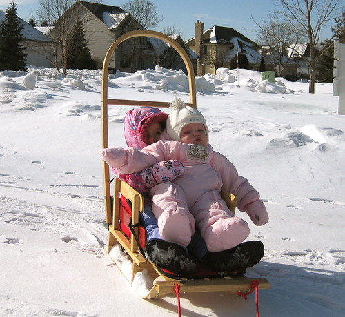 Bella and Emily Sledding!