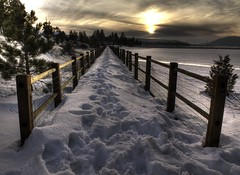 the crossing (Andy Kennelly) Tags: california bear bridge sunset lake snow tree pine fence walking point foot frozen big crossing prints vanishing narrow kennelly abigfave bestofmywinners ajax8055