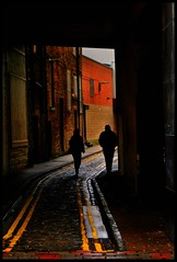 The distance between us... (Les1966) Tags: city streets lines yellow architecture scotland alley dundee angus silhouettes february
