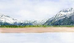 Alaskan mountains (jorlam) Tags: alaska watercolor landscape sketch alaskan