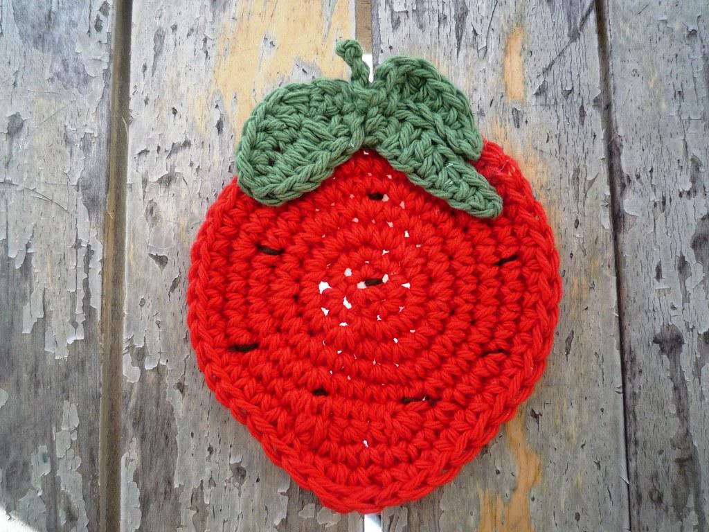 Crochet Red Strawbery Coasters