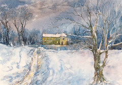Art: Watercolour:...to stay cosy at home...magic winterscene...in those days in Winseler, north ofLuxembourg (Nadia Minic) Tags: schnee winter snow landscape interestingness poetry aquarelle hiver watercolour neige luxembourg paysage aquarell winterscene lenningen paiinting nadiaminic nadiaart winseler