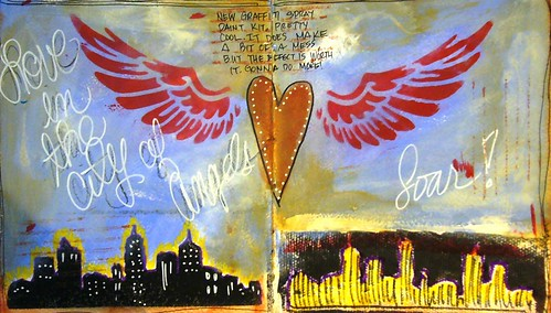 Graffiti Angel Journal Page by Carrie Todd of My Studio 13