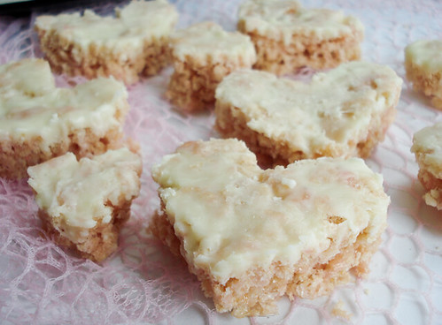 White Chocolate Rice Krispy Hearts