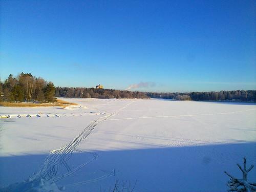 Ski tracks in the bay
