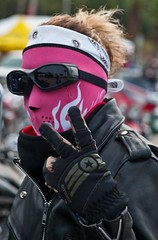(Lil Wally) Tags: woman girl leather lady star fingers goggles jacket glove biker peacesign rider headband eyewear