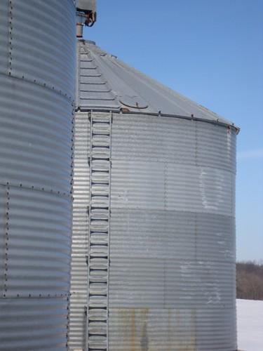 2 metal silos