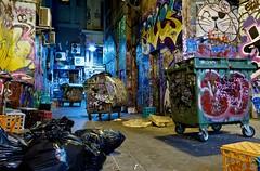 Clutter Chaos (Vermin Inc) Tags: streetart night graffiti evening alley pentax air perspective kitlens australia melbourne victoria cardboard rubbish wheeliebins dumpsters boxes laneway aircon bins hdr conditioner sidestreet garbagebags rubbishbags centreplace milkcrates k7 3xp crappykitlens pentax1855mm justpentax splitsystem incamerahdr