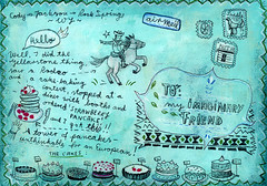 Wyoming Postcard back (Christiane*) Tags: road bear trip travel horse usa west cake pencil writing cowboy acrylic state map drawing stamps puzzle american postcards rodeo yellowstone lettering wyoming grandteton buffallo imaginaryfriend christianeengel