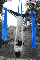 Duo Silks (Alexis, Tiger) (timailius) Tags: wild portrait bw color fall photoshop fire flying circus retreat lyra acrobatics balance 2009 trapeze aerials silks acro wildfire2009