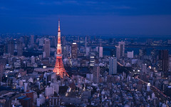 Tokyo from Mori Tower Sky Deck (Sarmu) Tags: city light sunset wallpaper urban building tower japan skyline architecture night skyscraper observation lights tokyo twilight highresolution downtown cityscape view skyscrapers nightshot widescreen landmark icon 1600 highdefinition resolution  1200 tokyotower roppongi cbd hd bluehour wallpapers roppongihills iconic kanto 1920 skydeck vantage 2010 moritower observationdeck vantagepoint ws 1080  1050 720p 1080p urbanity 1680 720 2560  sarmu