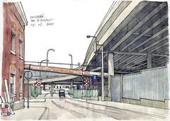 Liège, banlieue... encore. (gerard michel) Tags: sketch belgium liège banlieue croquis watercoluor