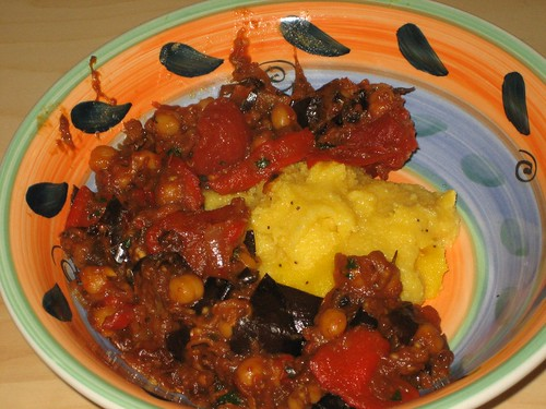 tomato and roasted eggplant stewed with chickpeas