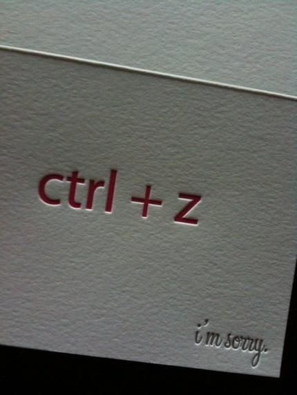 """tarjeta de """"disculpas"""" geek"""