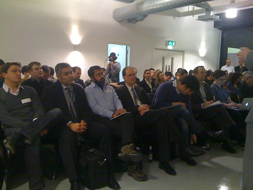 The #mashupevent audience look on from the bowels of Brick Lane