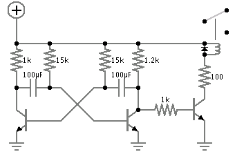 Astable multivibrator relay