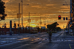 Quay Street morning (nzcjs) Tags: newzealand sunrise cyclist auckland nz hdr 1exp