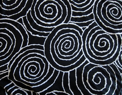 Black and white large bold spiral print poly-lycra knit