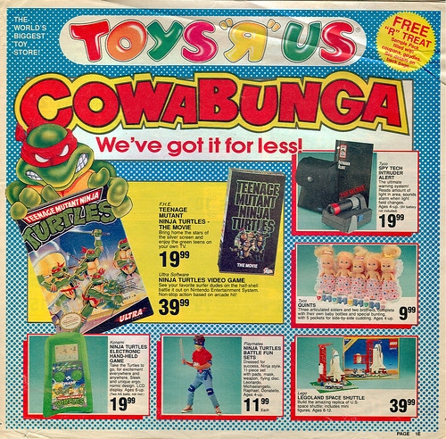 "Toys ""R"" Us - ' COWABUNGA- We've Got it for less!' { Colorado Springs TRU }  Sunday Newspaper supplement .. pg.1 (( October 21,1990 ))"
