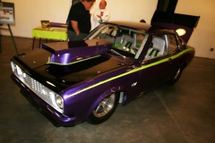 Dodge Colt drag car (osubuckialum) Tags: cars car 1974 nc triangle power purple northcarolina raleigh dodge 74 colt carshow picnik 2010 lomoish statefairgrounds wakecounty prostreet raleigharea