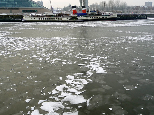 Frozen River Clyde with  PS Waverley