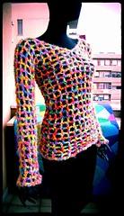 Rainbow Crochet Sweater (babukatorium) Tags: pink color art net fashion yellow sweater rainbow furry funny handmade turquoise crochet moda fluffy style hippie psychedelic arcobaleno whimsical haken hkeln croch ganchillo fuxia uncinetto fattoamano  tii horgolt babukatorium