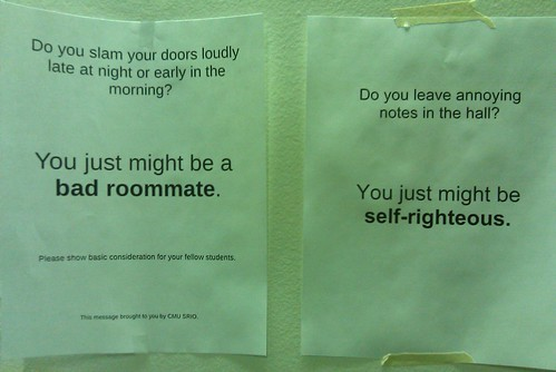 Do you leave annoying notes in the hall? You just might be self-righteous.