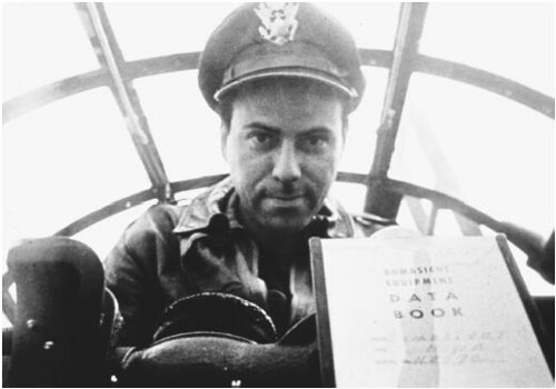 Bombadier Yossarian at his combat station in the film adaptation.