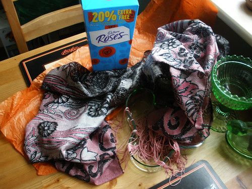 Indian scarf and chocolates from R