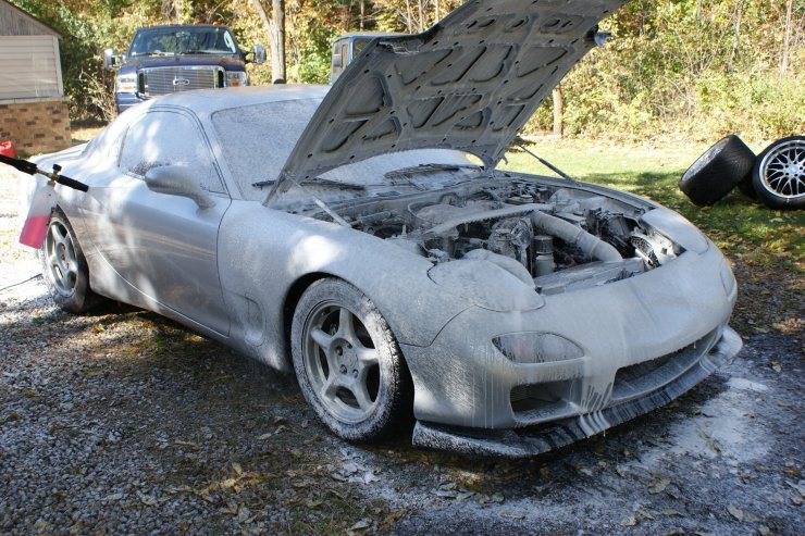 RX7 engine covered in thick layer of washing foam
