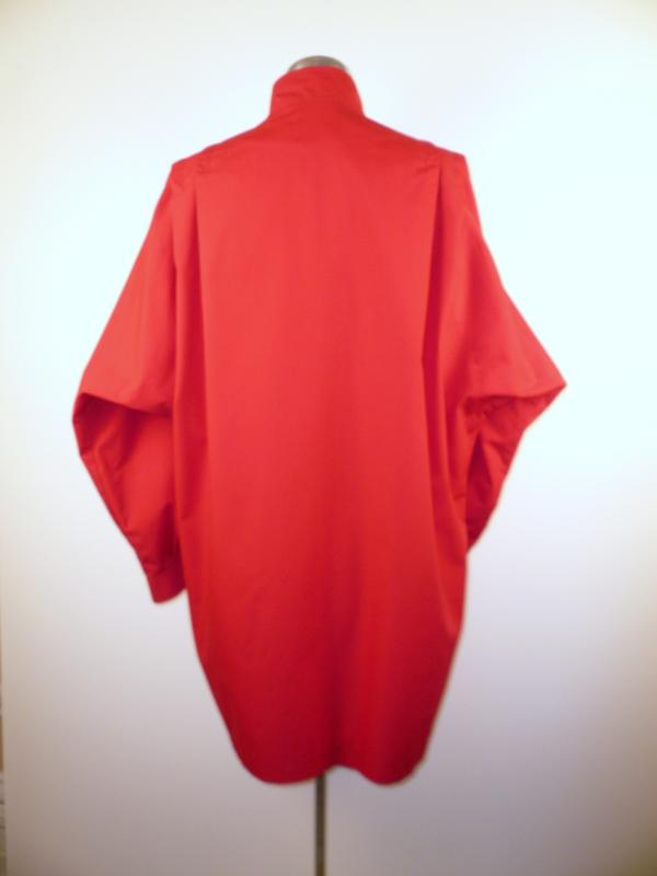 Back - Red Spring Batwing Coat with Snaps