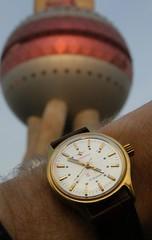 Jixing with Pearl Tower (cnmark) Tags: china detail macro tower closeup vintage geotagged shanghai military watch chinese dial pearl wrist wristwatch   orient pudong  uhr  lujiazui   pearloftheorient  armbanduhr allrightsreserved  jixing wristshot  zifferblatt handwound     geo:lat=31241173 geo:lon=121494042