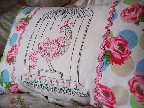 Groovy Bird Embroidered Pillow 2