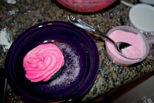 Sugaring the cupcakes