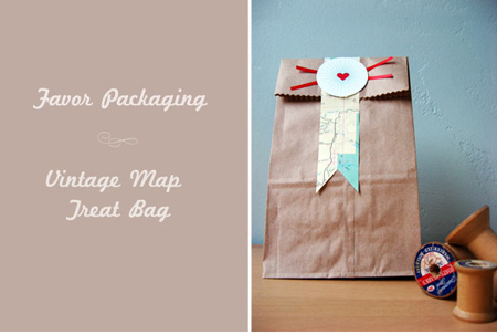 DIY Treat bags wedding favors or welcome bags vintage maps travel theme