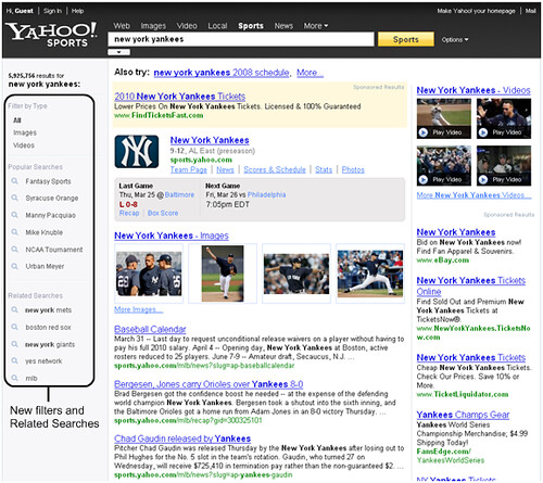 Yahoo! Sports search results page