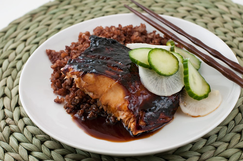 Salmon Teryiaki with Sweet and Sour Cucumbers