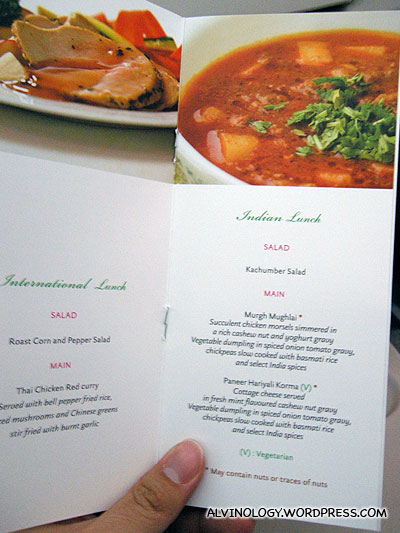 The Kingfisher menu for our airplane meal